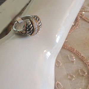 Jewelry - Beautiful Cable Ring, 18KGE and Pave, 7, 8